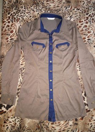 Рубашка блузка приталенная стрейч-коттон 42-44 с-м трансформер