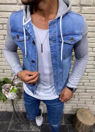 Джинсовка джинсовый пиджак с капюшоном мужская турция / джинсо...