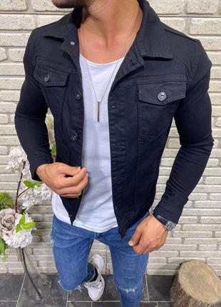 Джинсовка джинсовый пиджак мужская черная турция / джинсовая к...