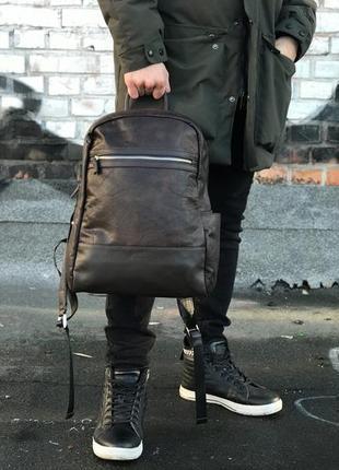 Шкіряний рюкзак коричневий
