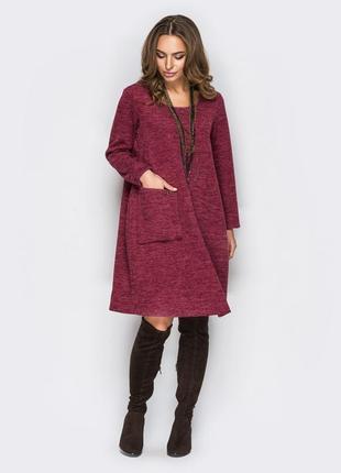 Платье бордовое в стиле бохо оверсайз