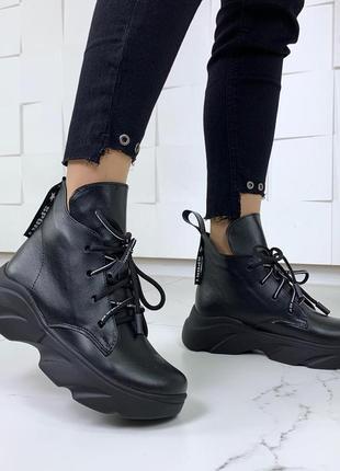Кожаные ботинки на высокой подошве,ботинки на шнуровке и платф...