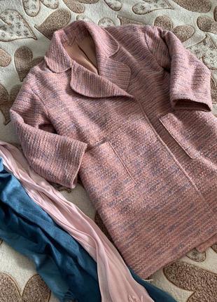 Пальто шерстяное оверсайз прямое весенне букле