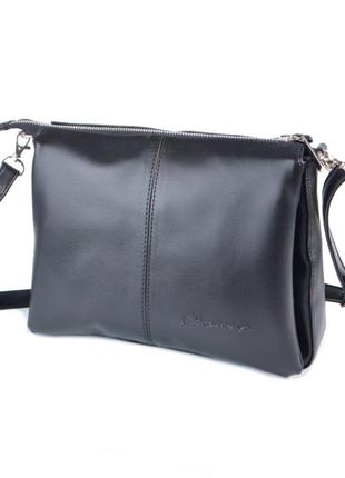 Черна большая сумка-клатч через плечо кросс-боди три отделения