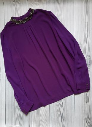 Нарядная лиловая блуза с бисером marks&spencer размер м