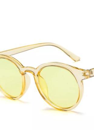 Желтые очки круглые ретро винтаж для стиля кошечки оправа