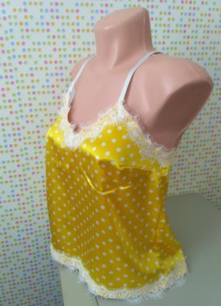 Пижама атласная желтая в горох