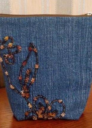 """Косметичка (сумочка-органайзер) джинсовая с вышивкой """"ветка"""" j1"""