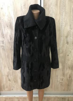 Легкое пальто плюшевое велюровое велюр вязаное воротник вязка
