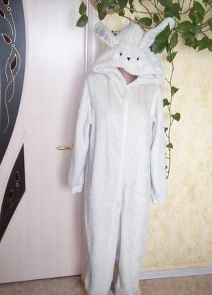 Тёплый плюшевый кигуруми зайчик/пижама/халат/ночнушка/слип/ком...