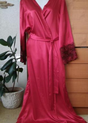 Шикарный атласный халат с кружевом, красивейший красный цвет