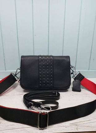 Женская кожаная сумка черная с шипами цепочкой жіноча шкіряна ...