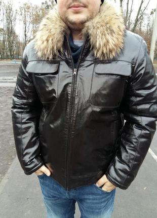 Зимняя кожаная мужская куртка с мехом дикой лисицы.
