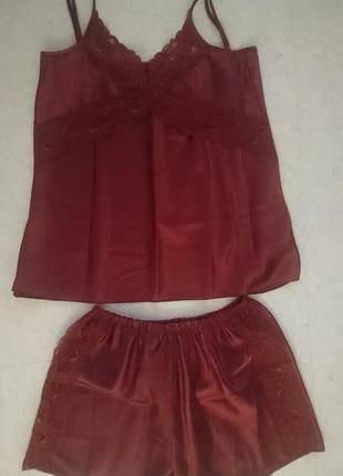 Атласная пижамка винного цвета
