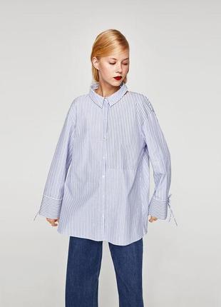 Рубашка в полоску с отрезным воротником от zara