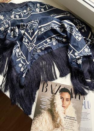 Платок шарф шаль бахрома reserved темно синий