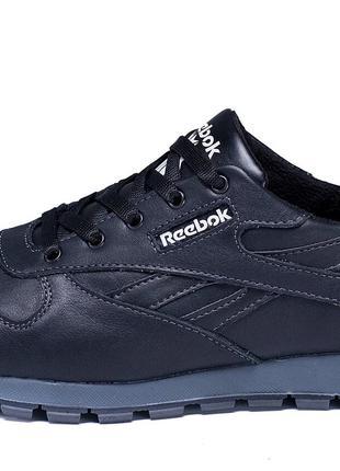 Мужские кожаные черные кроссовки Reebok Classic Black