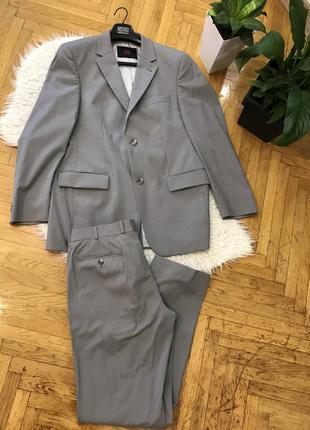 Carl gross костюм люкс качество шерсть шерстяной светлый серый