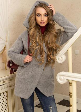 Пальто с капюшоном и прорезными карманами (серый)