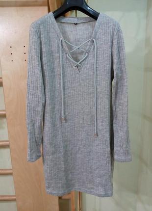 Трикотажное платье на невысокую девушку туника