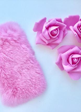 Чехол розовый пушистый на apple iphone 6