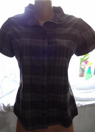 Блузка рубашка с коротким рукавом в клетку р.44