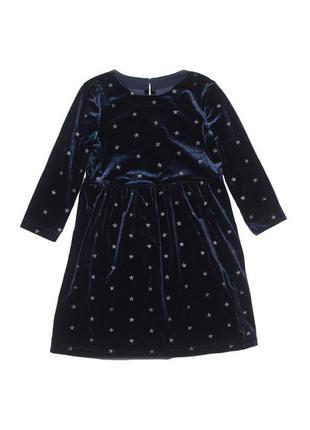 Тёмно-синее нарядное бархатное платье со звездами gap