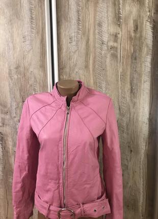 Кожаная яркая куртка курточка натуральная кожа розовая франция...