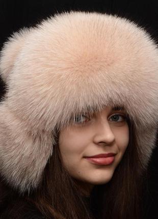 Женская зимняя меховая шапка ушанка