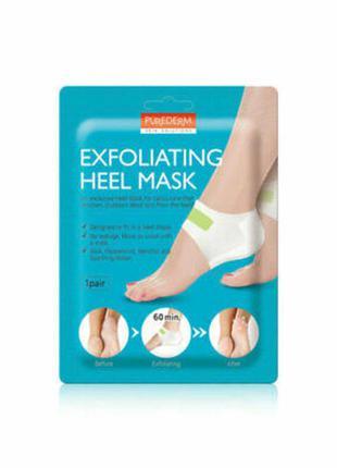 Отшелушивающая маска для пяток purederm exfolaiting heel mask