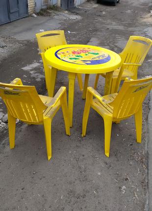 Мебель садовая, пластиковая, стол, стулья, для сада, пикника, бу