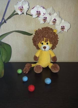 Вязаная игрушка лев, мягкая игрушка ручной работы