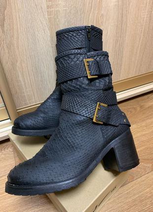 Сапоги, ботинки guess оригинал на небольшом каблуке по змеиную ко