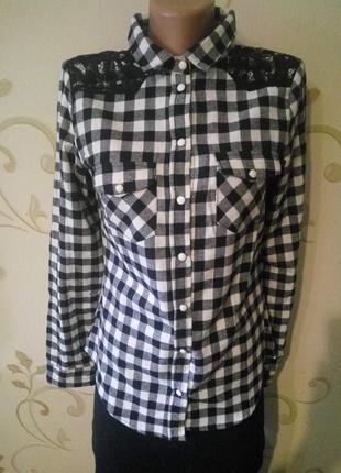 Alcott . фланелевая рубашка сорочка блузка в клетку с гипюр,  ...