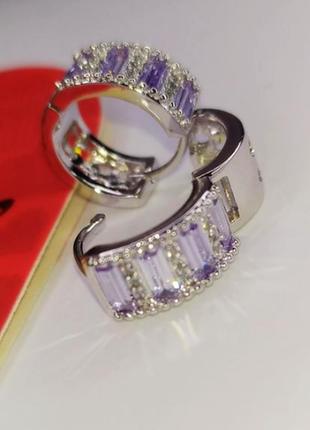 Серьги кольца ø1.5см с фианитами, белое мед. золото