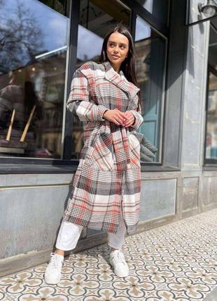 Пальто клетчатое серое