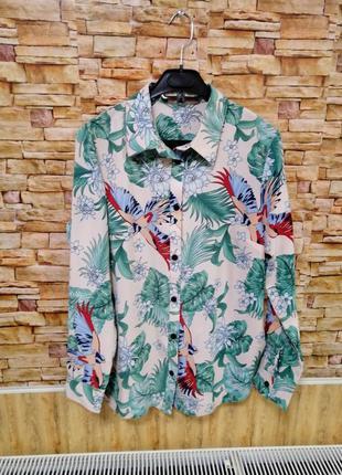 Рубашка блуза гавайка тропический принт