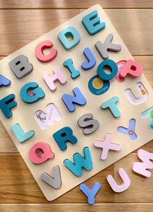 Сортер Деревянная азбука с картинками Английский алфавит