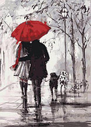 Картина по номерам Люди « Пара під червоною парасолькою»