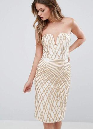 Платье сетка в пайетки, с золотистыми блестками, на подкладке