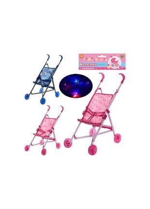 Коляска трость для куклы со светящимися колесами