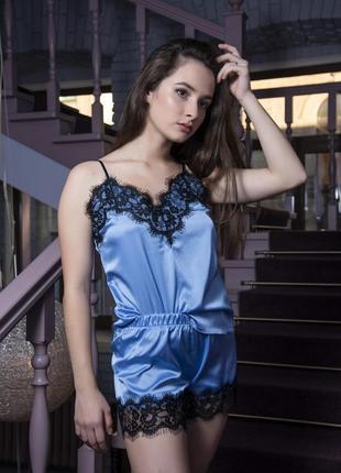 Шелковая женская пижама с кружевами голубая подарок подруге