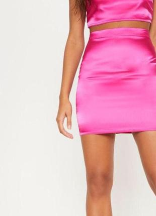 Ликвидация товара 🔥   розовая сатиновая мини юбка