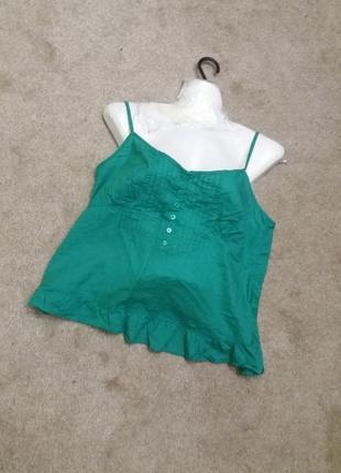 Зеленая майка  топ котон на 48р  з24