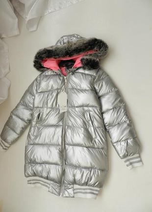 ✅ дутая куртка матовое серебро с опушкой на капюшоне эко мех к...