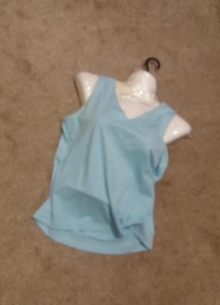 Голубая стрейчевая майка  футболка  с лифом на 48р   з21