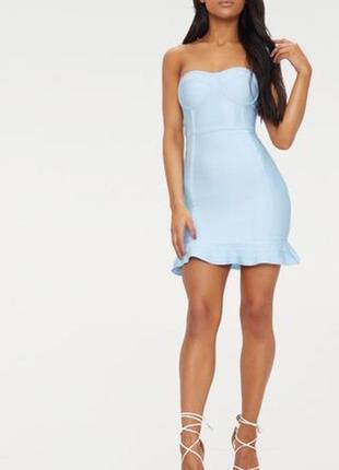 Ликвидация товара 🔥  бандажное голубое мини платье бандо