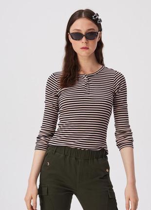 Новая облегающая полосатая кофта блузка польша черные полоски ...