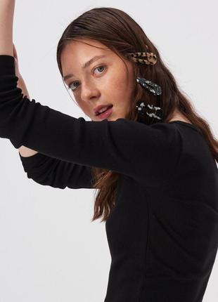 Новая однотонная длинная облегающая черная кофта блузка польша...