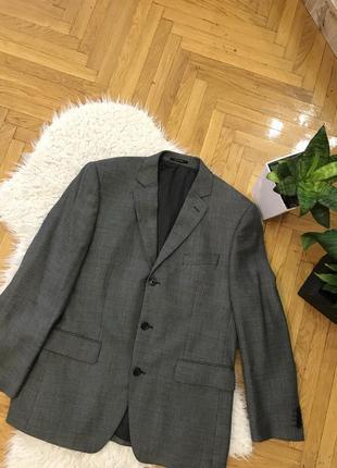 Фирменный шерстяной серый пиджак шерсть бренд christian berg